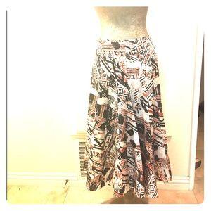 NWT silk blend graffiti print swing midi skirt